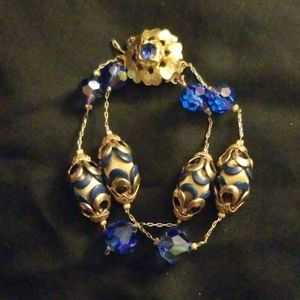 Gold crysral necklace with matching braclet